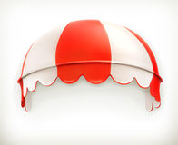Red an white striped awning. Excellent canopy, protection from sun and rain, vector icon Royalty Free Stock Image