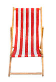 Red and white striped canvas deckchair isolated on a white backg Stock Images