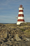 Red and White Striped Lighthouse Stock Photo