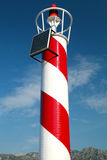 Red and white striped lighthouse Stock Images