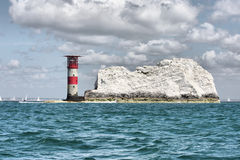 The Red and white striped lighthouse at the needles Stock Photos