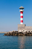 Red and white striped lighthouse tower, Burgas Stock Photo
