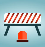 Red, white and striped road barrier. Barricade, road block royalty free illustration
