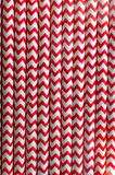 Red and white striped straws Stock Photo