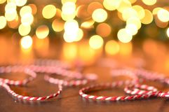 Red and white striped string with bokeh background Stock Images
