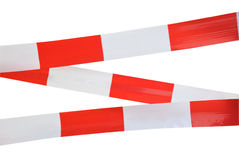 Red and white striped tape. For protection isolated on white royalty free stock photography