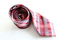 Red and White Striped Tie Isolated Royalty Free Stock Photo