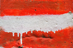 Red and white stripes painted on wall as Austria flag. Background for urban street graphic design or sport team supporters Stock Images