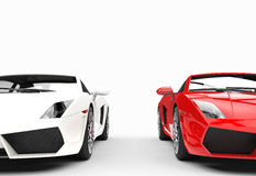 Red And White Supercars Closeup Front Stock Photos
