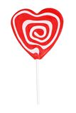 Red and white swirl heart shape lollipop Stock Photos