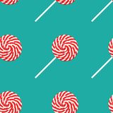 Red and white swirl lollipop seamless pattern poster, flat style. Vector illustration for happy birthday, new year, Christmas. Greeting card, invitation. Fabric royalty free illustration