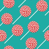 Red and white swirl lollipop seamless pattern poster, flat style. Vector illustration for happy birthday, new year, Christmas. Greeting card, invitation. Fabric stock illustration