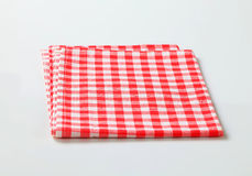 Red and white table linen. Red and white checked table linen Stock Images