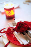 Red and white table setting for diner anniversary celebration Stock Images