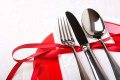 Red and white table setting for diner anniversary celebration Stock Image