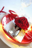 Red and white table setting for diner anniversary celebration Stock Photos