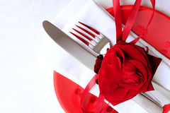 Red and white table setting for diner anniversary celebration Royalty Free Stock Images