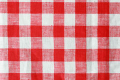 Red and white tablecloth. Red and white checked tablecloth background texture Royalty Free Stock Photos