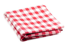 Red and white tablecloth. Checked with red and white tablecloth isolated over white background Stock Image