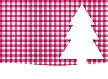 Red white tablecloth with christmas tree. Christmas tree on white and red tablecloth background Stock Photo