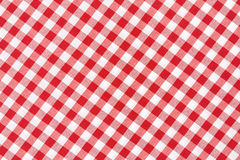 Red and white tablecloth. Red and white gingham tablecloth texture background, high detailed Stock Image