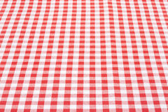 Red and white tablecloth perspective. Red and white gingham tablecloth perspective texture background, high detailed Stock Photo