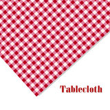 Red and white tablecloth picnic on white. Background Royalty Free Stock Image