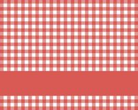 Red white tablecloth with stripe for text. Traditional rustic red white tablecloth texture with blue stripe for text stock illustration