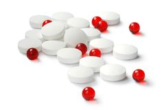 Red and white tablets Royalty Free Stock Photography