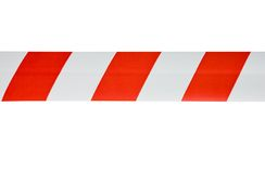Red white tape. Red white interdictory tape on white Stock Photography