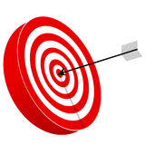 Red and white target board with arrow Royalty Free Stock Photo
