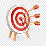 Red white target icon, cartoon style stock illustration