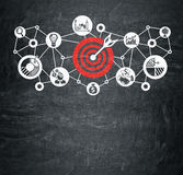 Red and white target sketch on blackboard Stock Photo