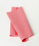 Red and white tea towel Stock Images