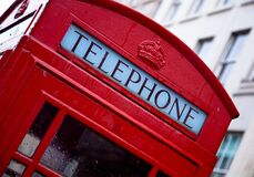 Red and White Telephone Booth Stock Photo