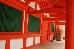 Red and White Temple Walkway Royalty Free Stock Photos