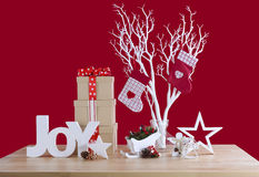 Red and white theme Christmas table decorations. Royalty Free Stock Image