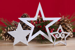 Red and white theme Christmas table decorations. Stock Image