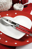 Red and white theme table setting closeup. Royalty Free Stock Photography