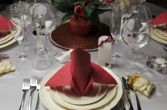 Red and white theme wedding breakfast dining table setting Stock Image