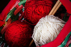 Colorful Thread Balls. Red and white thread balls in a basket Stock Images