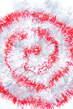 Red and white tinsel. Shaped as dreamstime logo Royalty Free Stock Photos