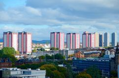 Glasgow tower blocks. Red and white tower blocks in Glasgow Royalty Free Stock Photography