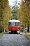 Red and white tram bus from Prague Stock Photo
