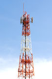 The red white transmission tower Stock Photos