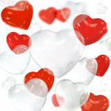 Heart shaped balloons. Red and white transparent heart shaped balloons stock illustration