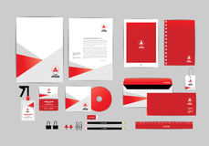 Red and white with triangle corporate identity template for your business B Stock Images
