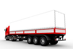Red and white truck or lorry. Large red and white delivery truck and trailer Stock Image