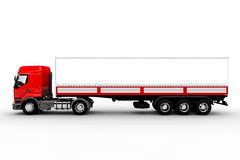Red and white truck and trailer Royalty Free Stock Photos
