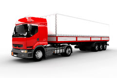Red and white transport truck Stock Photos